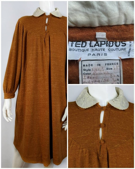 TED LAPIDUS rare wool dress women's 70's | Size 38