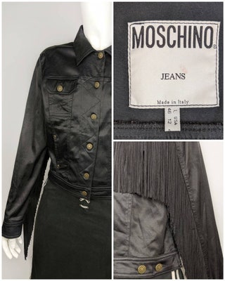 MOSCHINO women's black jacketblazer with a fringe | Size 12M