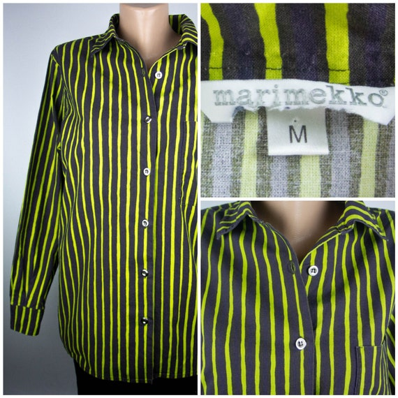 MARIMEKKO vintage bright green striped women and m