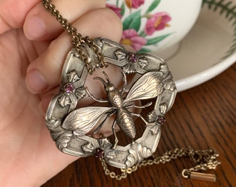 Moth Pendant Opal pendant Silver and Gold pendant Bug Jewelry Opal necklace Moth necklace Insect Jewelry