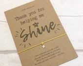 Teacher Gift Thank you For Helping Me Shine Wish Bracelet