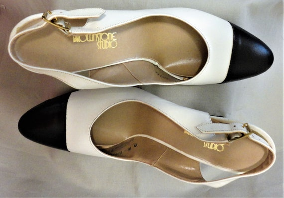 6e2bf65321a20 Brownstone Studio Size NOS 8M 2 Tone Black & White Unworn Genuine Leather  Pumps Buckle Ankle Straps Unusual 3