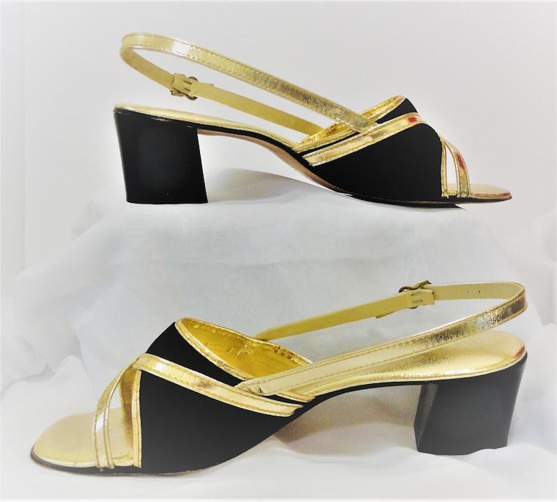 104a493cb6d62 Elegant Grants Fashion Footwear Size 7N Black Velvet Gold Lame' Strappy  High Heel Sandals 2