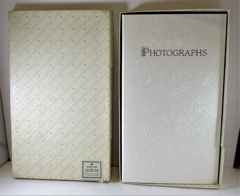 Hallmark 1984 Keepsake Wedding Photo Album White Embossed Flowers Vintage Love Gift
