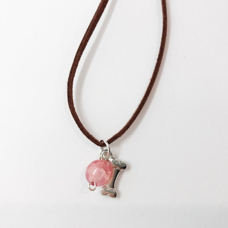 charm necklace brown leather necklace leather charm necklace jewelry necklace dog charm necklace