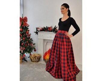 81bb6225b Red Checks Maxi Skirt/ Full Length Skirt/ Tartan Skirt