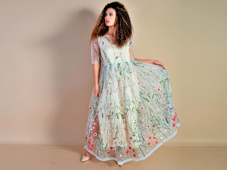 Embroidered Dress Wedding Dress White Dress White Embroidered Dress Floral Embroidery Embroidered Tulle Dress Fairy Dress