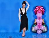 Apron Black Dress Skirt with Straps Asymmetrical Dress Asymmetrical Skirt Suspenders Dress Suspenders Skirt Pinafore Dress