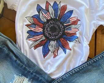 Patriotic Sunflower Shirt, Patriotic Shirts for Women, July 4th Shirt for Women, Independence Day Gift, Americana Women Shirt, Plus Size