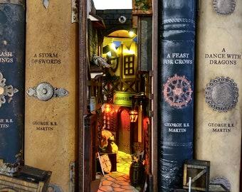 Medieval miniAlley®  Assembled Booknook Premade Bookshelf Insert  Bookshelf Alley® Book nook