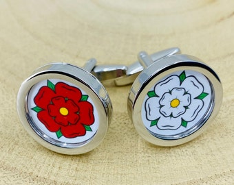 East Riding of Yorkshire English County Flag Glass Domed Cufflinks,