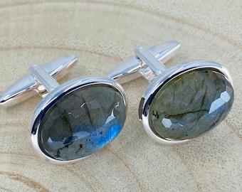 Solid 925 Sterling Silver Natural Gem Stone Lemon Quartz Kraboong Cufllinks For men and Women Fine Gem Stone Cufflinks