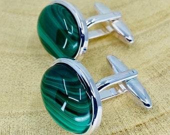 Gemstone Men/'s Cuff Llinks Hand Made in USA Inlaid Turquoise  Malachite  Jasper Cufflinks