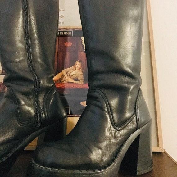 Vintage 90s // Platforms // Destroy // Leather Boo