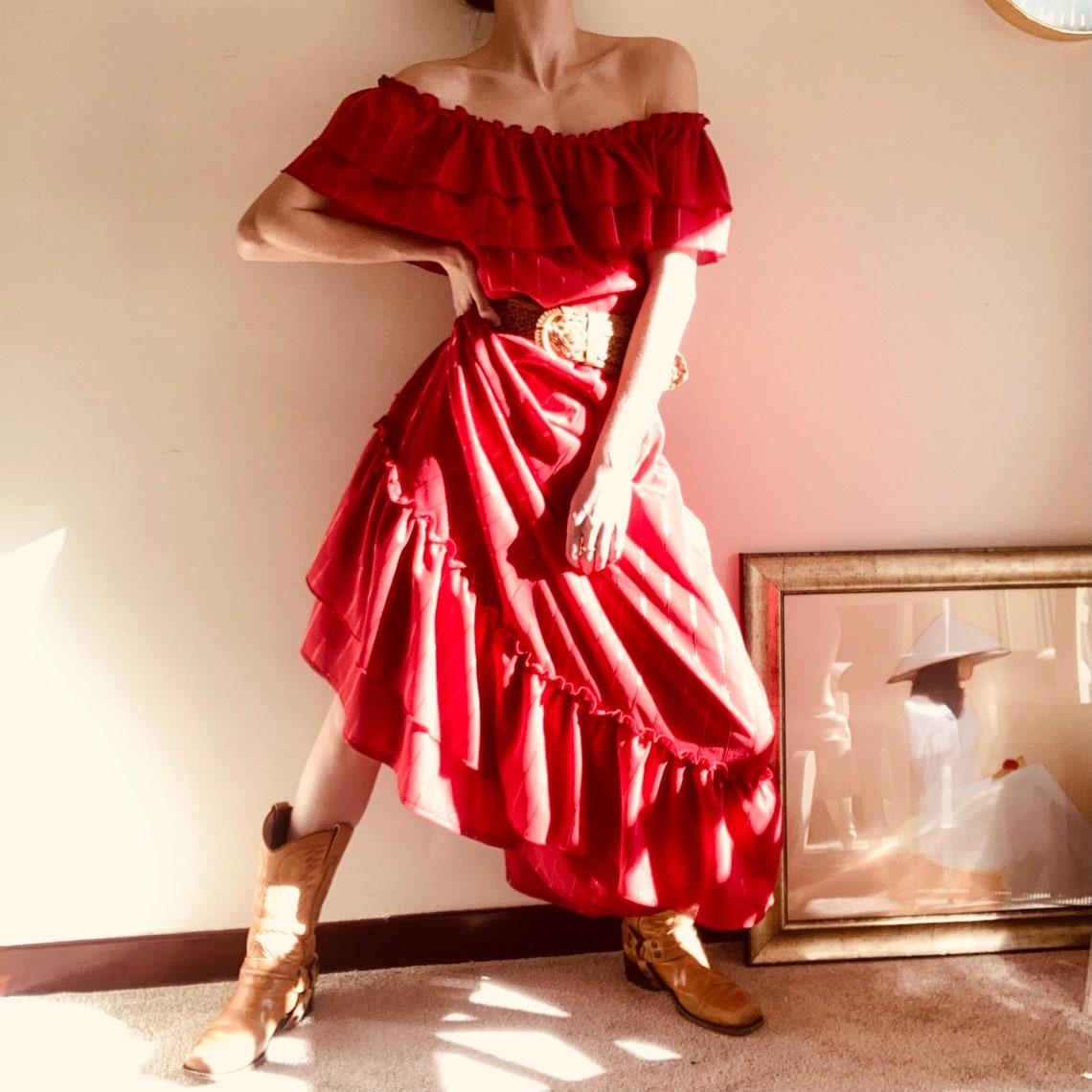 Vintage // 70s // Ruffle// Maxi Dress //Bardot Style // U.K. L image 1