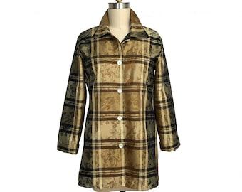 Silk Plaid Shirt, Silk Plaid with Jacquard Design, Classic Long Shirt/Blouse, Plaid Silk Fabric, Made in USA