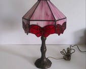 Vintage Tiffany style stained glass red slag lamp