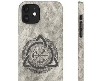 Celtic Vegvisir Phone Cases, Slim & Lightweight, iPhone and Samsung Models, Supports Wireless Charging, Impact Resistant Polycarbonate