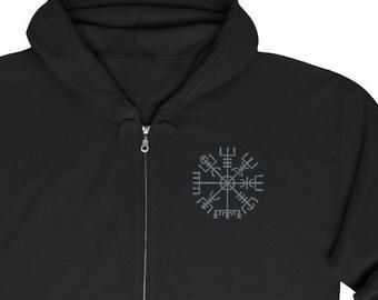 Embroidered Vegvisir Unisex Zip Up Hoodie, Viking Compass, Norse Pagan, Sizes S-5XL