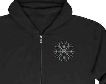 Embroidered Helm Of Awe Unisex Zip Up Hoodie, Viking Sweatshirt, Norse Pagan, Sizes S-5XL