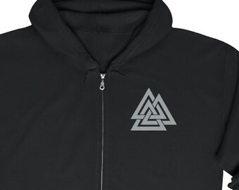 Embroidered Valknut Unisex Zip Up Hoodie, Slain Warrior Knot, Norse Pagan, Sizes S-5XL