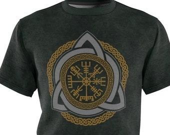 Green Celtic Vegvisir All Over Print Unisex Tee, Viking Compass, Viking Symbol, Norse Pagan T-Shirt - Printed, Cut & Handmade, Sizes S-3XL