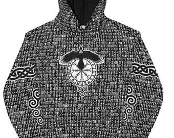 Black Raven Elder Futhark Runes All Over Print Unisex Hoodie, Norse Pagan Sweatshirt, Viking Hoodie - Printed, Cut & Handmade - Sizes XS-3XL