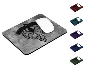 Runic Raven Rectangle Computer Mouse Pad, Viking Symbol, Norse Pagan, Desk Accessory, Office Accessory, Neoprene Non-Slip Rubber Base