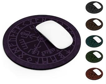 Runic Vegvisir Round Mouse Pad, Viking Symbol, Norse Pagan Symbol, Desk Accessory, Office Accessory, Neoprene Non-Slip Rubber Base