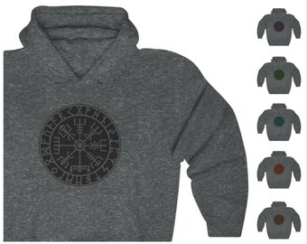 Gray Runic Vegvisir Unisex Heavy Blend Pullover Hoodie, Norse Pagan Hooded Sweatshirt, Viking Compass - Gildan 18500, Sizes S-5XL