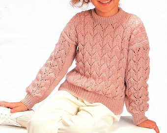1ab6f141 Lace sweater pdf Girls knit pattern Knit sweater pattern Knitting pattern  Summer knit top Pattern download Kids knit pattern