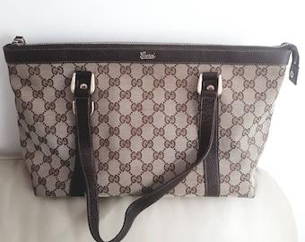 9e27894ab675 Vintage GUCCI Monogram Tote Bag, Authentic Gucci bag, Gucci bag