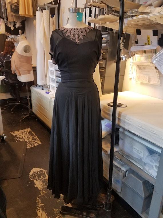 Vintage 1940's Black Sheer Beaded Evening Gown
