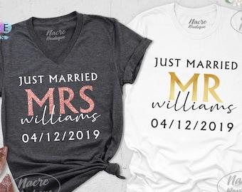 Wedding Gift Shirts Couples Shirt Honeymoon Shirts Mr Mrs Just Married Newlywed Shirt Hubs and Wifey Shirts Groom and Bride Shirts