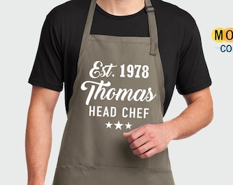 Personalised Head Chef Apron Custom Cooking Baking Apron Gifts For Him For Her For Husband For Wife Mens Womens Apron Mum Gifts Gift Idea