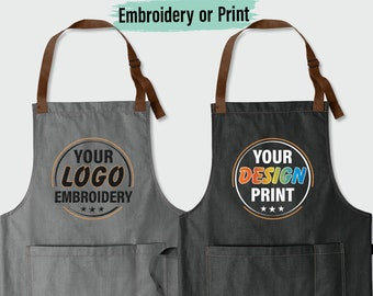 Custom Print Apron, Custom Embroidered Apron, Custom Logo Apron, Custom Text Apron, Personalize Apron, Custom Apron Men, Custom Apron Women