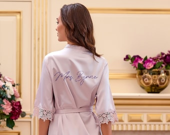 Long Personalised Bridesmaid Robes Set of 7 \u2022 Wedding lace satin getting ready dressing gown \u2022 Monogrammed initial bridal shower party gift