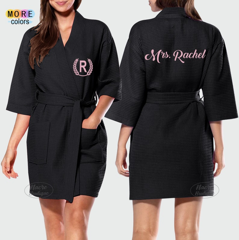 Waffle Kimono Robes Bridesmaid Bath Robes Custom Bath Robes Embroidered Bride Bath Robe Personalized Robes for Women Couples Spa Robes