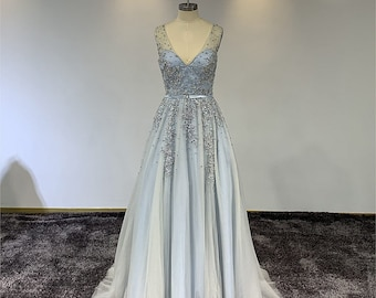 c79f89e4548 Romantic Wedding Dress in Blue Tulle And Satin Embellished In Sequins And  Beads  AMELIE
