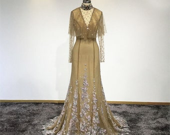 d0d826e21b3 Edwardian Wedding Gown  Ball Gown With Beaded Cape and Choker in Gold    Gold Vintage Wedding Dress  GLORIA