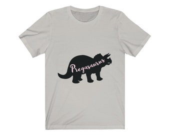 f22e07405ed95 Pregasaurus Preggers Pregnant AF Funny Cool Maternity T-Shirt Top Modern  Unique Jersey Short Sleeve Tee