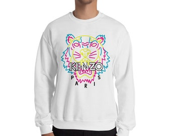 f09ce3426 Kenzo Jumper Kenzo Sweatshirt Inspired Neon Fashion Print Jumper Designer  Tiger Inspired Crewneck Unisex Mens Womens Top Long Sleeve Modern