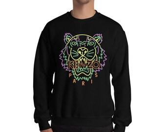 b909db0b9cd0 Kenzo Jumper Kenzo Sweatshirt Inspired Neon Fashion Print Jumper Designer  Tiger Inspired Crewneck Unisex Mens Womens Top Long Sleeve Modern