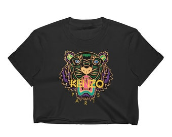 85b69ca42a Kenzo Womens Crop Top Inspired Fashion Designer Tiger inspired print