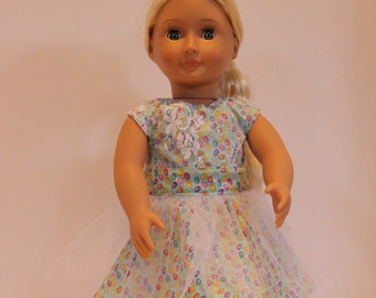 """38f744bbff297 18"""" American Girl Easter dress, lace and tulle over robin-egg glittering Easter  egg print"""