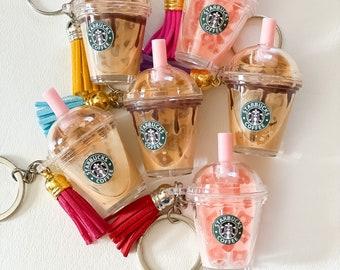 Mini coffee keychain //Starbucks inspired drink keychain// pink drink key chain// miniature keychain