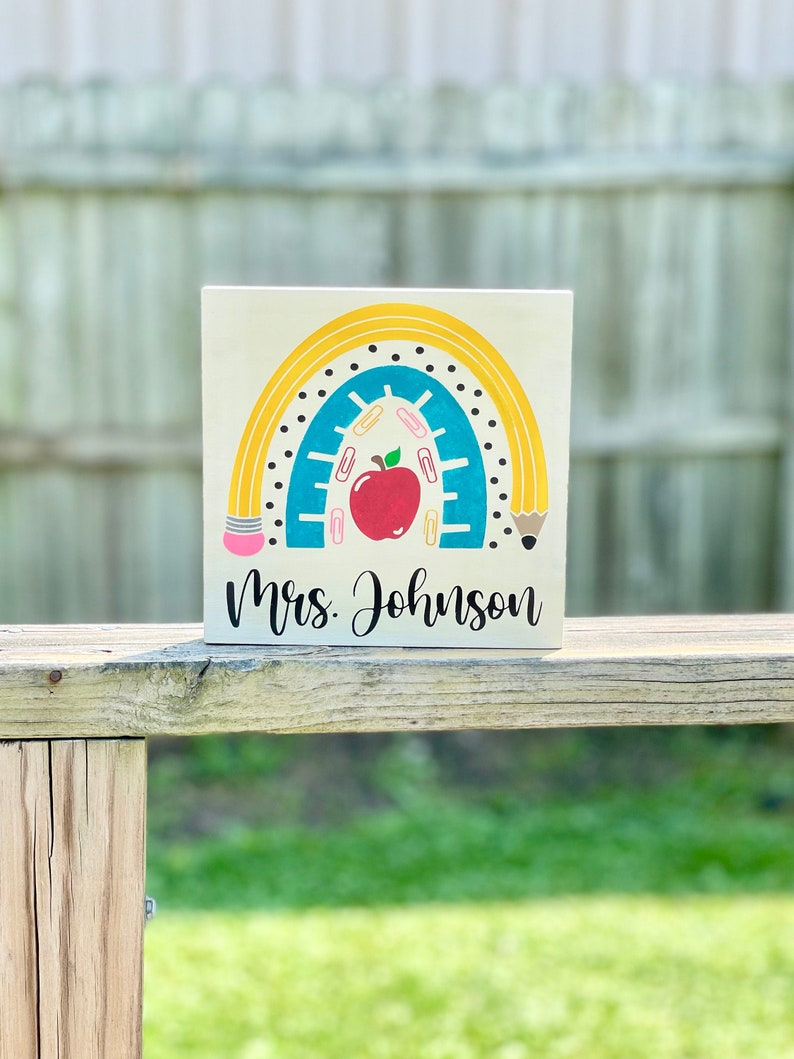 Personalized Back to School Teacher Wood Sign Teacher image 0