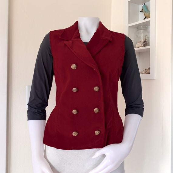 90s Casual Corner red velvet double breasted waist