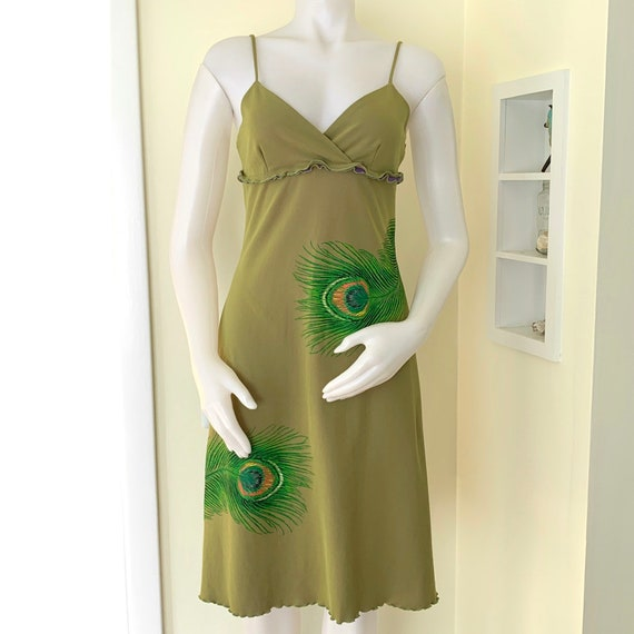 Y2K Moss green & purple A line sundress with peaco