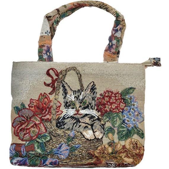 Cat Bag Purse Shoulder Vintage Bag Beaded Grandma… - image 1